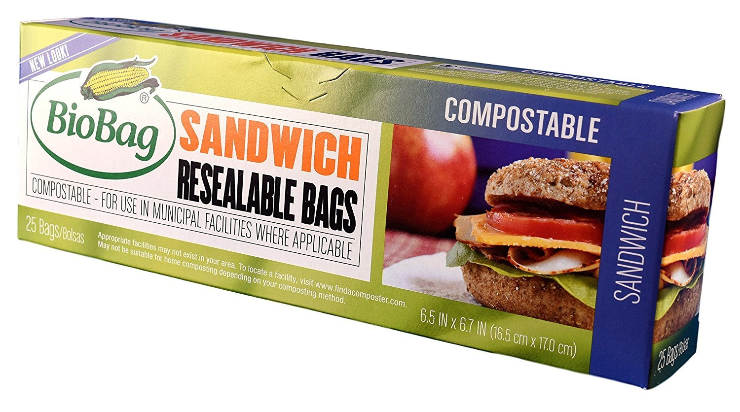 BioBag - 25 Count Resealable Sandwich Bags, Pack of 4