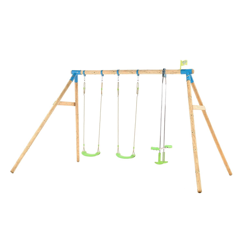 Tp Toys Woburn Wooden Triple Swing Set With 2 Swings 1 Glide Ride