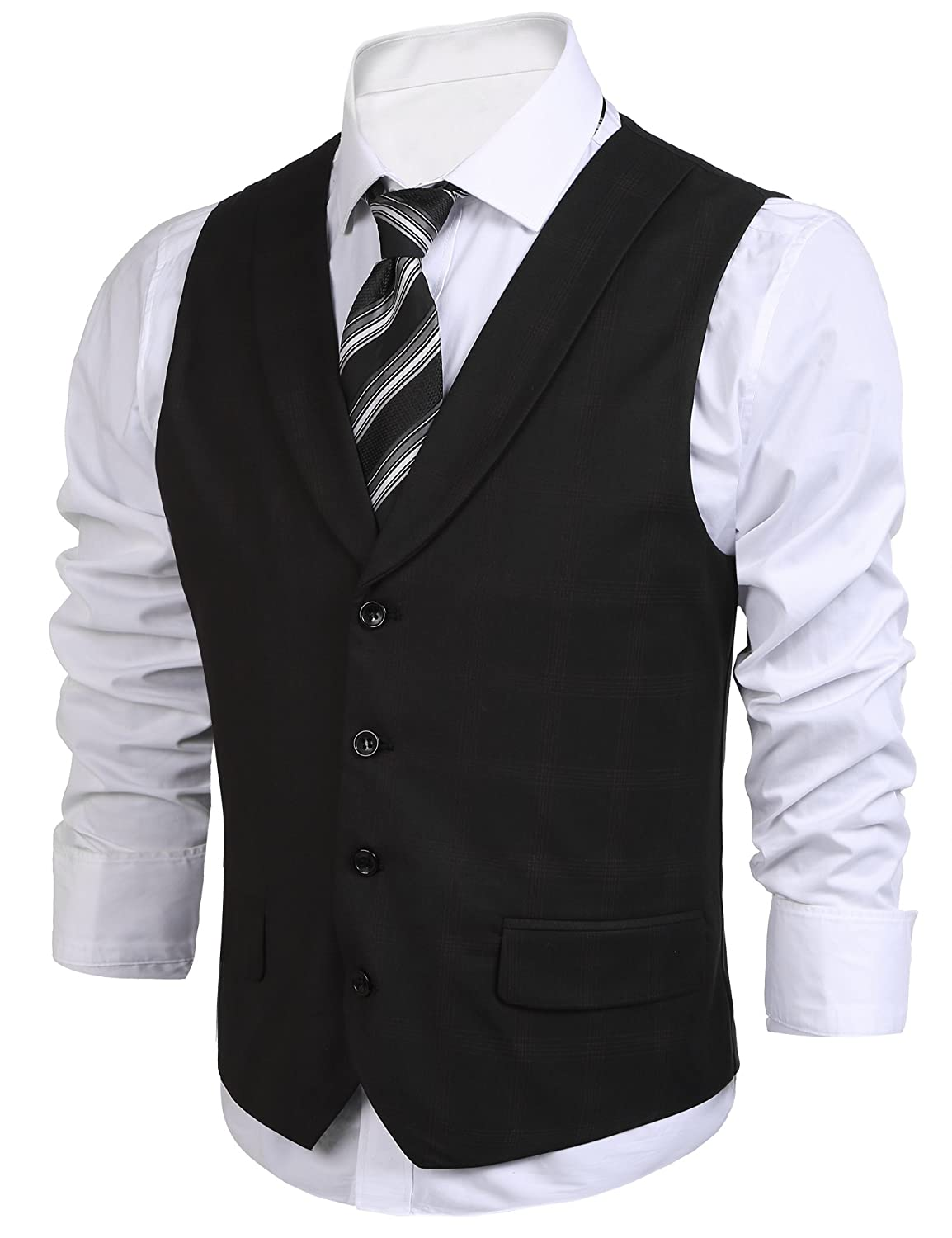 Men's Vintage Vests, Sweater Vests Jinidu Mens Lattice Casual Waistcoat Gentleman Lapel Business Suit Blazer Vest $31.99 AT vintagedancer.com