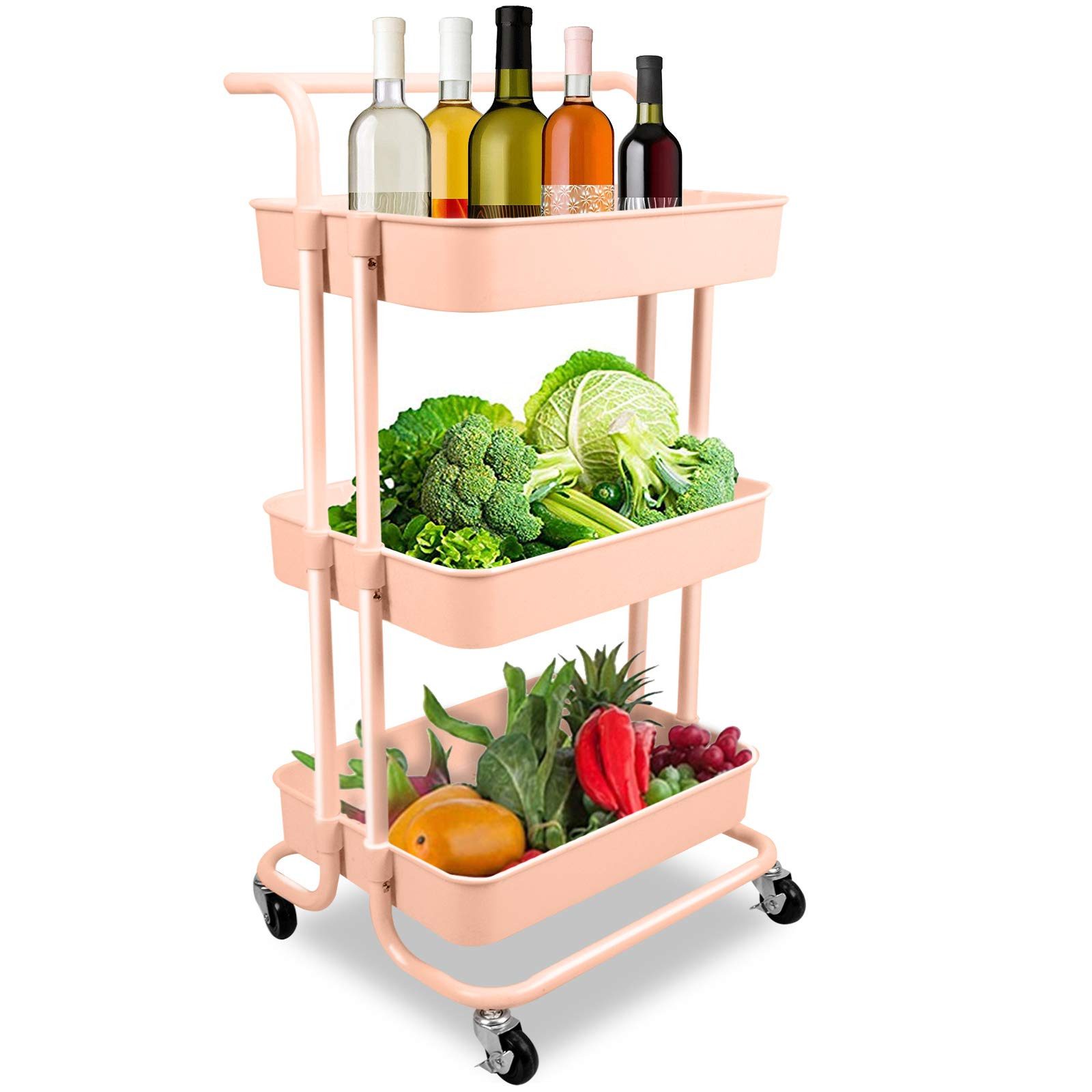 Voilamart 3-Tier Rolling Utility Cart,Multifunctional Organization Storage Cart with Locking Wheels,Rolling Storage Organizer with Mesh Basket and Handle for Kitchen, Bathroom, Office, Pink