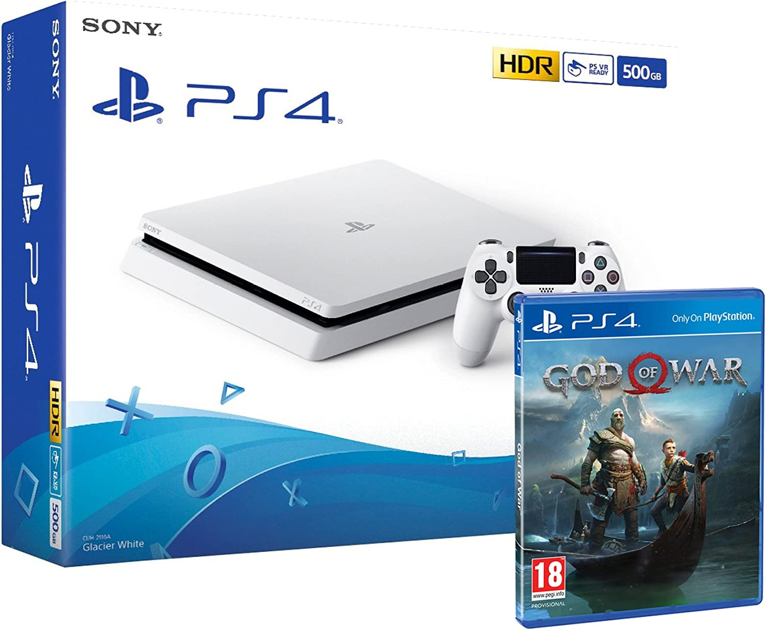 PS4 Slim 500Gb Blanca Playstation 4 Consola + God Of War: Amazon.es: Videojuegos