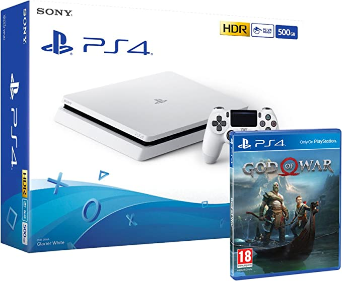 PS4 Slim 500Gb Blanca Playstation 4 Consola + God Of War: Amazon ...