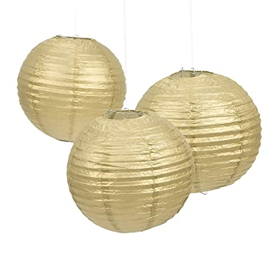 Fun Express - Gold Paper Lanterns (6pc) for Party - Party Decor - Hanging Decor - Lanterns - Party - 6 Pieces: Toys & Games [5Bkhe0206282]