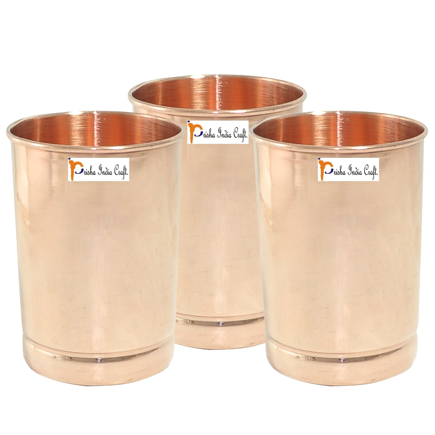 Set of 3 - Prisha India Craft Pure Copper Glass Cup for Water - Handmade Water Glasses - Traveller's Copper Mug for Ayurveda Benefits - CHRISTMAS GIFT ITEM