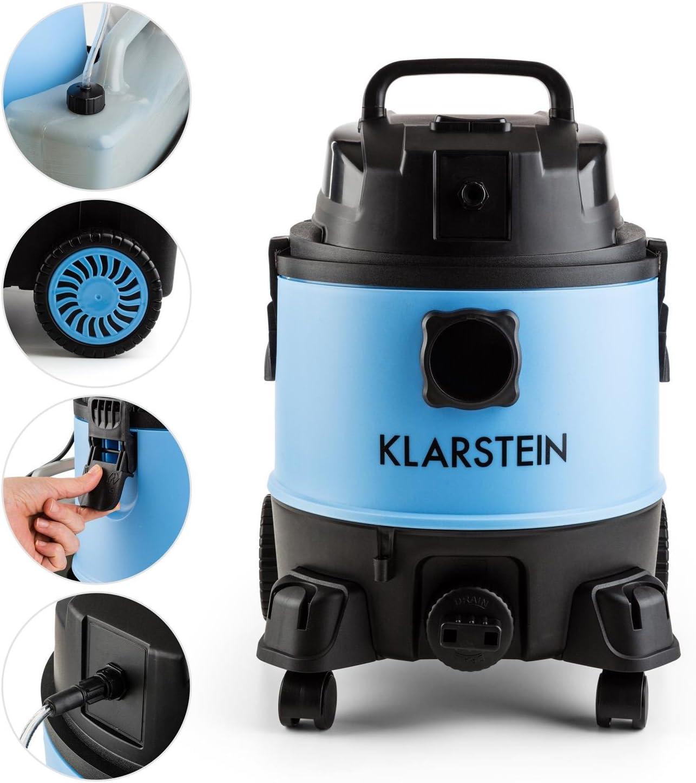 f/ür die Teppich- schwarz-blau Shampooreinigung Klarstein Reinraum 2G Nass-//Trockensauger Abschaltautomatik 1250 Watt Leistung Boden- und Autoinnenreinigung 3 in 1 Kombiger/ät 20 Liter-Tank
