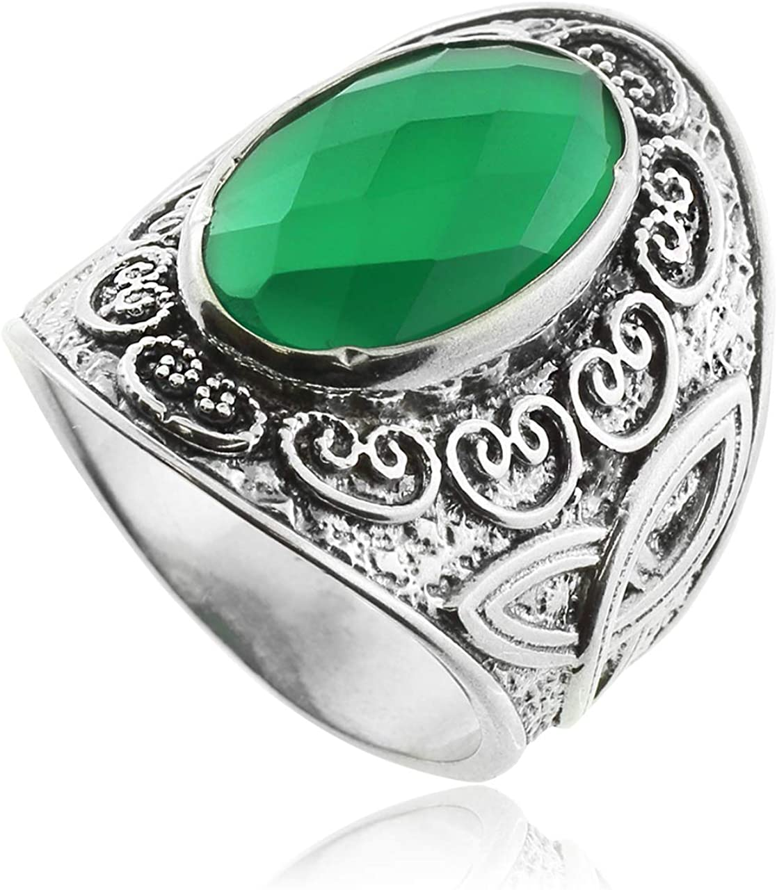 Celtic Rings Green Agate Silver
