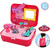 Gooyo Dresser Backpack Play Set, Pretend Play Dress Up Suitcase Makeup Toys Kit -Set of 21 Pieces (Pink)
