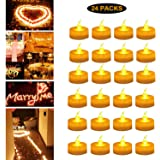 Candle Light LED Tea Light Candles Amber Flameless Tealight Candle Battery Operated Lights for Wedding, Valentine' s Day, Honeymoon, Anniversary, Gathering, Festival Decoration (24 Packs, Warm White)