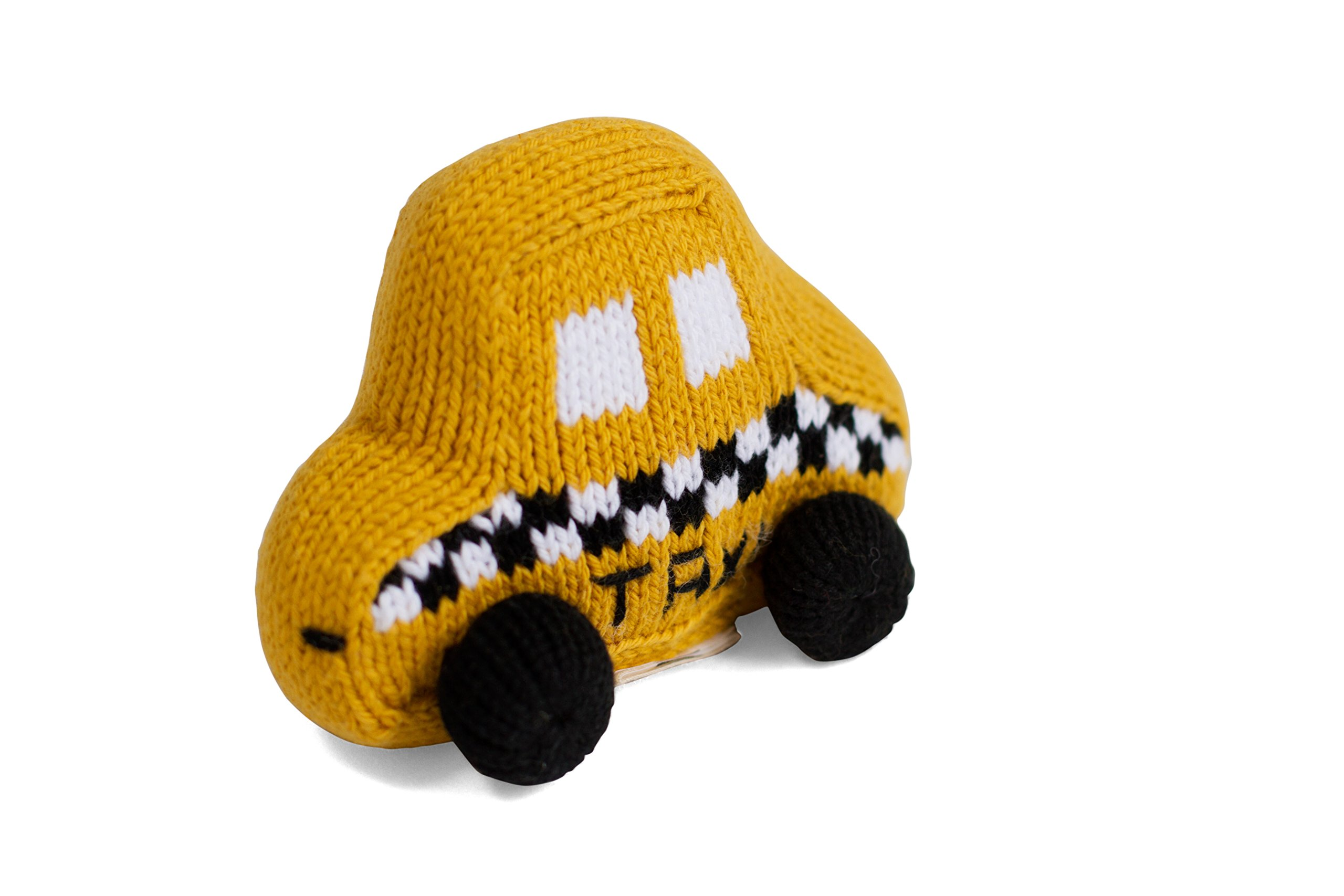 Estella Hand Knit Soft Organic Cotton Baby Rattle Toy, Taxi