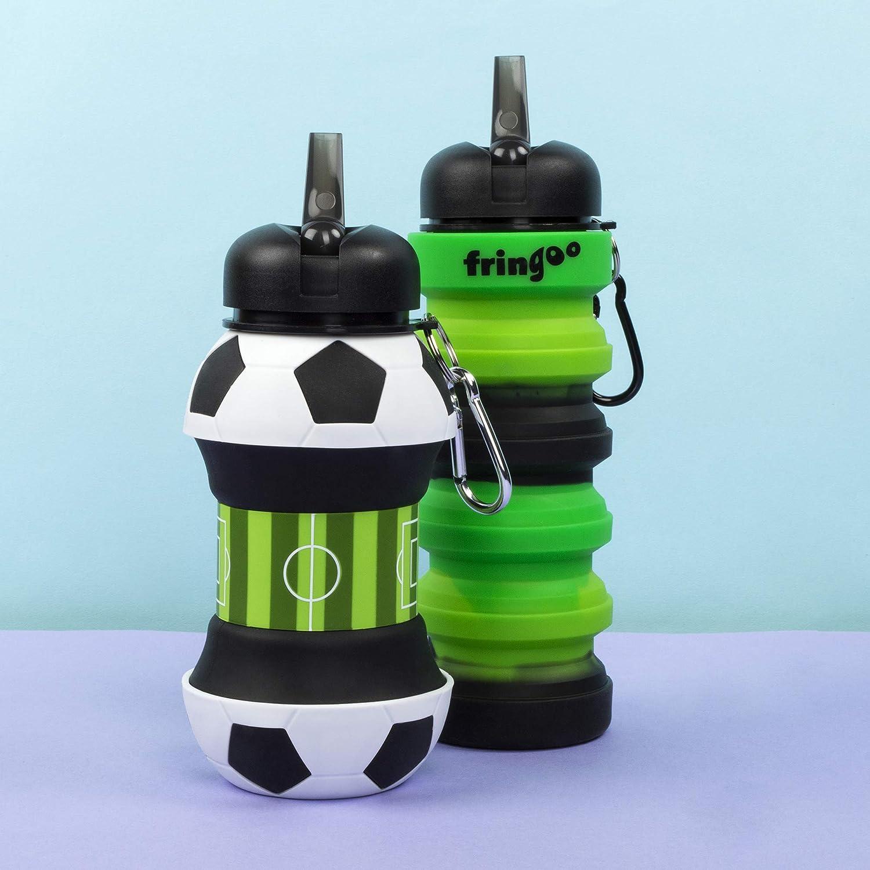 Fringoo Botella Silicona Colgable Bebida para Niños 500ml/17oz Silicone Collapsible Drink Bottle For Kids 500 ml / 17 oz con Clip Mosquetón A Prueba ...