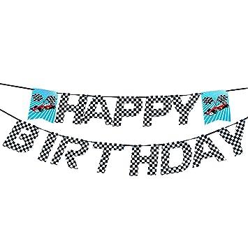 AMZTM Pancartas Feliz Cumpleaños Coche de Carreras - Pancartas Cuadros Happy Birthday Artículos di Fiesta para Cumpleaños (Blanco y Negro)