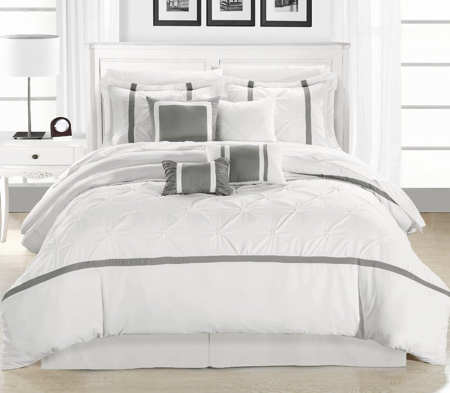 Vermont Silver & White King 8 Piece Embroidered Comforter Bed In A Bag Set