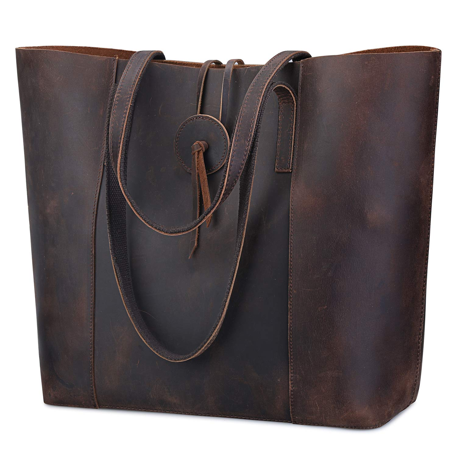 4f3b7901ac6f Amazon.com: S-ZONE Vintage Crazy Horse Leather Tote Shoulder Bag Purse with  Removable Pouch (Brown): Clothing
