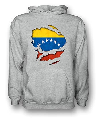 Sudadera con capucha para hombre, el diseño parece que está desgarrada y se ve la bandera de Venezuela debajo.: Amazon.es: Ropa y accesorios