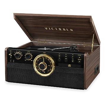 Amazon.com: Victrola - Reproductor de madera con Bluetooth y ...