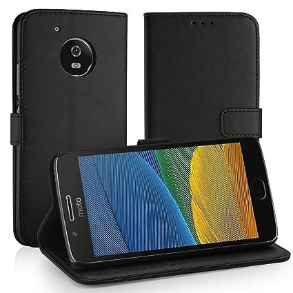 Simpeak Funda Compatible Moto G5, Carcasa Motorola Moto G5 Fundas Cuero Lenovo Moto G5 Negro(5,0 Pulgadas), Soporte Plegable, Ranuras para Tarjetas y ...