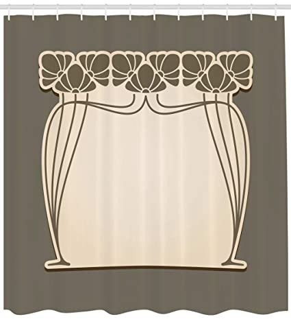 Ambesonne Art Nouveau Shower Curtain Flower Bouquets Forming An Arch Vintage Style Feminine Old Fashioned