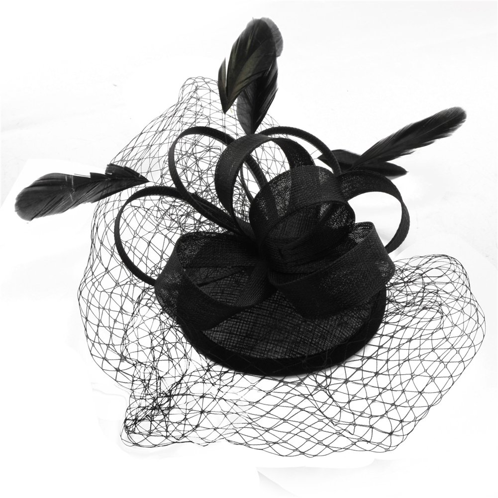 Women's Vintage Fascinators Hat Flower Mesh Ribbons Feathers with Clip for Wedding Bridal Headware Party Headdress