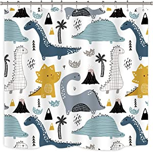 Riyidecor Cartoon Dinosaur Shower Curtain Cute Kids Tree Mountain White and Black Funny Abstract Fabric Waterproof Home Bed Bathtub Decor 12 Pack Plastic Shower Hooks 72x72 Inch