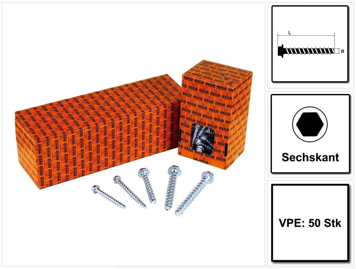 Heco MULTI-MONTI-plus SS Lot de 50 vis /à b/éton 12 x 100 mm SW 15 T/ête hexagonale galvanis/ée A2K . 2 x 48411
