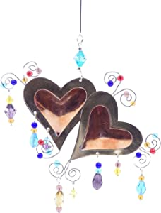 Love You More Two Hearts Bronze Nickel and Copper Hanging Ornament Garden Planter Handmade Gift Boxed