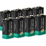 Enegitech 9V Lithium Battery 600mAh Non-Rechargeable Li-ion Battery for Smoke Detector Fire Alarm Multimeter, 8-Pack