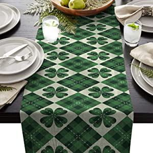 Table Runner Linen Burlap Clover Leaf Green Shamrock Table Linens Non-Slip Runners for Dinner Holiday Parties Events, Decor Scotch Style Check Plaid 13x70 inches