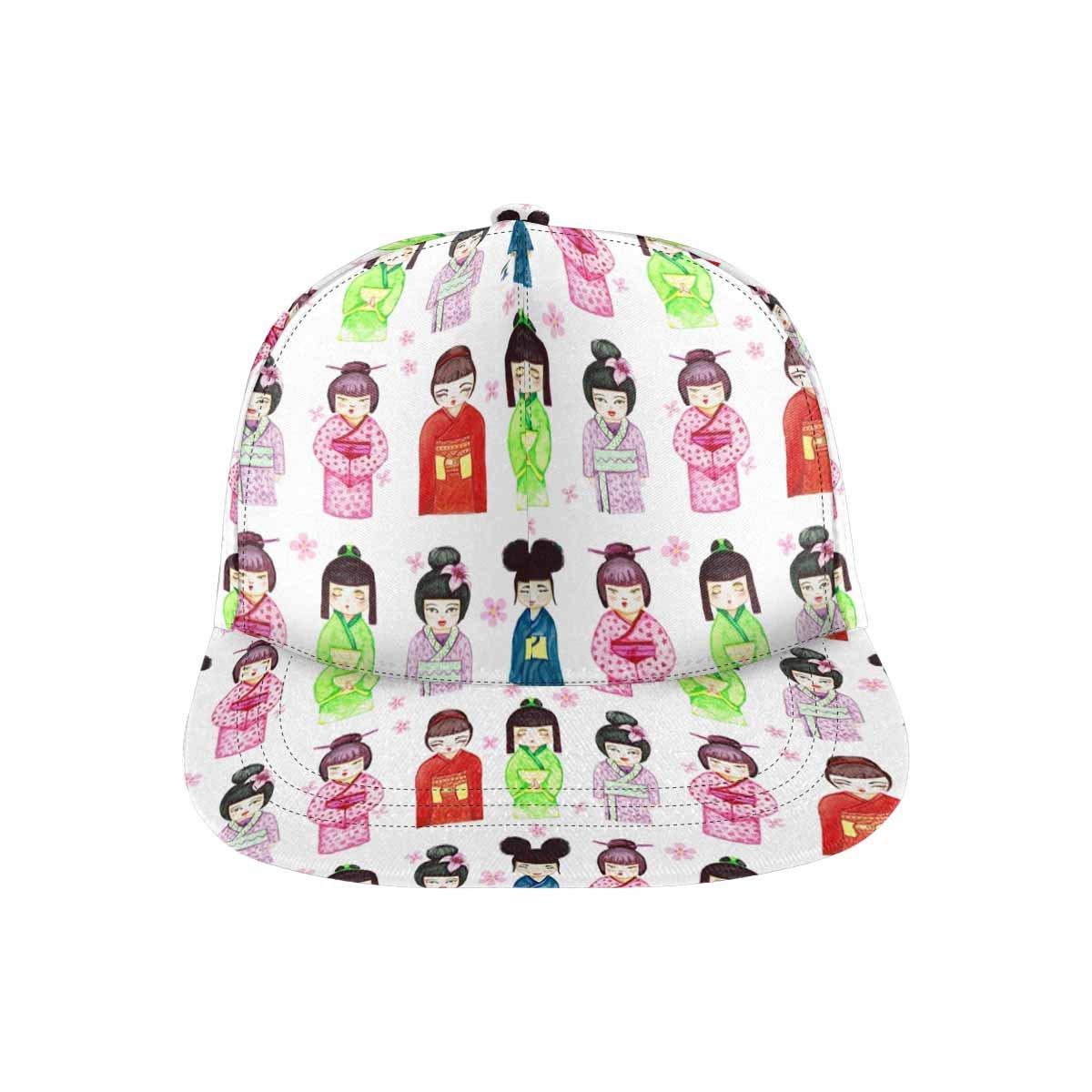 InterestPrint Japanese Girl and Flowers Unisex Baseball Cap Vintage Adjustable Hat