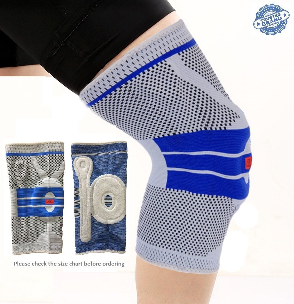 Ultimate Knee Compression Brace Sleeve For Sports – 3D Knitted Breathable Silica Gel Anti-collision Support Pad For All Athletes, Recovery From ACL, Meniscus & Arthritis Injuries (X-Large, Grey)