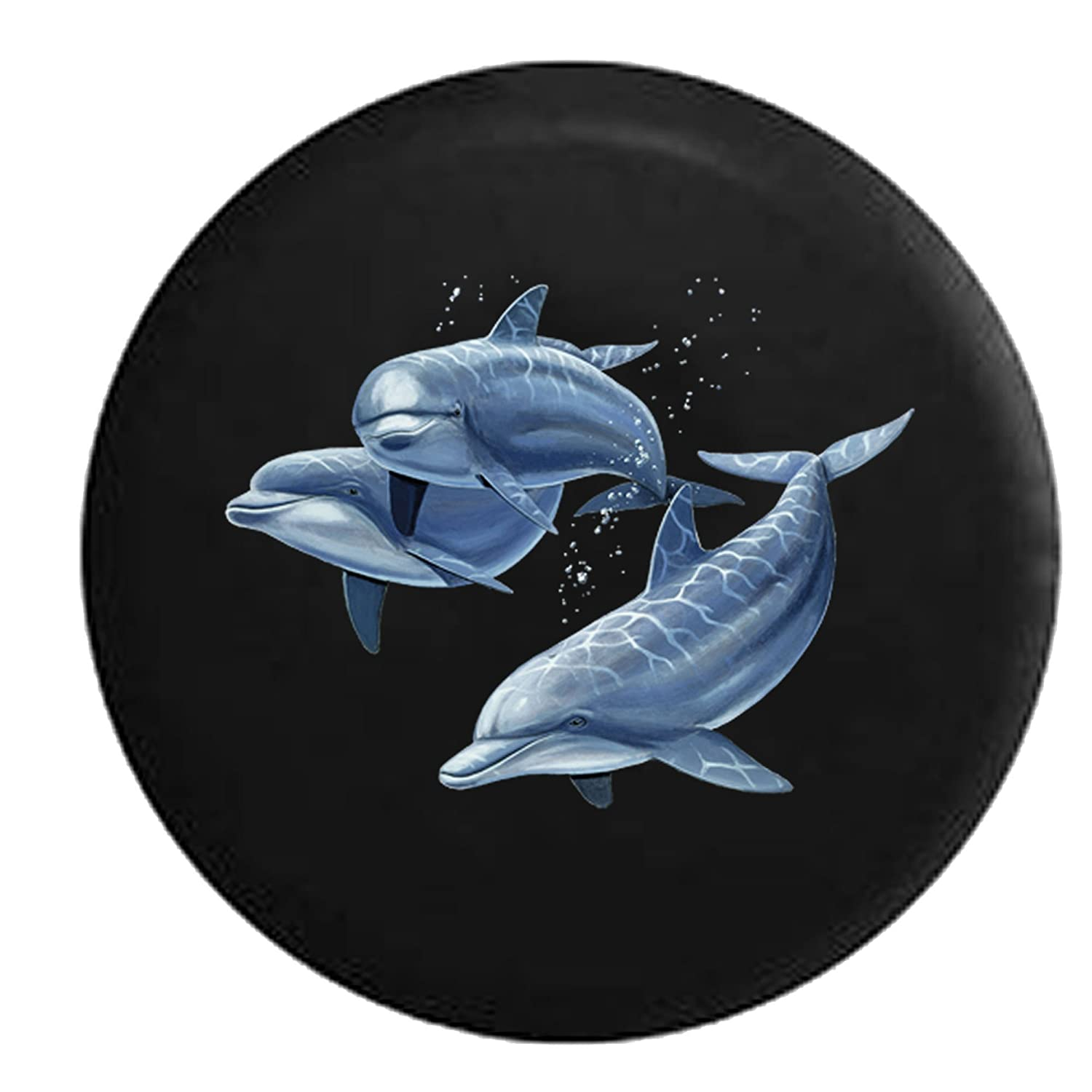 Family of Dolphins in the Ocean Sea Light Spare Tire Cover Black 26-27.5 in American Unlimited