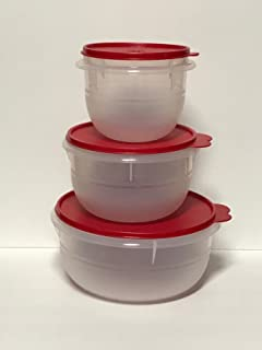 Tupperware 3 piece Classic Mixing Bowl Set with Red Seals