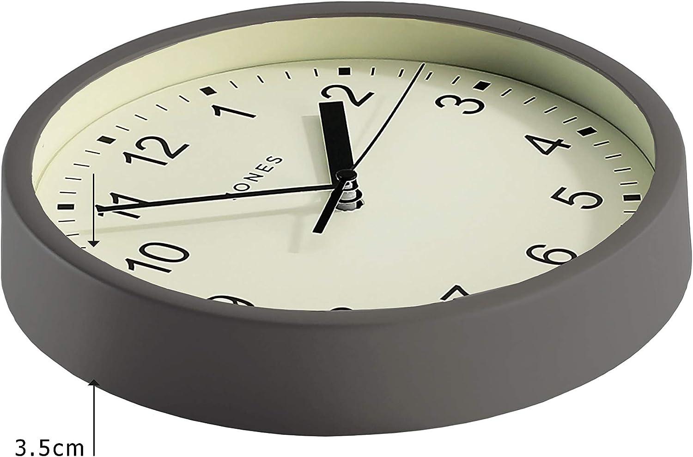 Creme//Helles Holz JONES CLOCKS/® Spin kleine Wanduhr farbiges Zifferblatt und Zeiger 20 cm