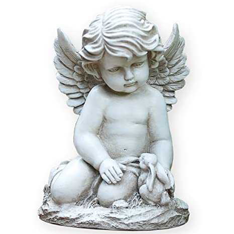 Sitting Cherub With Bunny Rabbit 9 Inch Resin Decorative Indoor Outdoor  Garden Statue Figurine