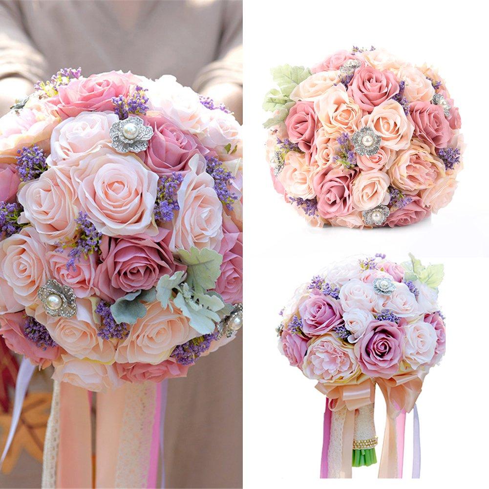 LianLe Blumenstrauß Künstliche Seide mit Rosen Lavendel Perlen Blättern Hochzeit Brautstrauß