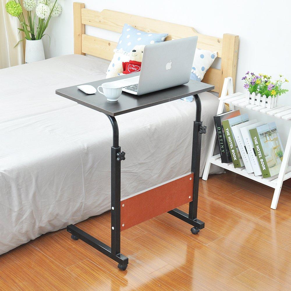 SogesHome Adjustable Mobile Bed Table 23.6'' Portable Laptop Computer Stand Desks Cart Tray, Black SH-05-1-60BK