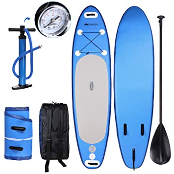 Ancheer Tabla de Surf de SUP + Ajustable Paddle + Bomba con PSI + Mochila Tabla