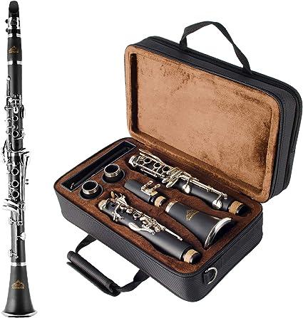 EastRock Clarinete con 2 barriles y funda Bb Clarinete níquel llaves 17