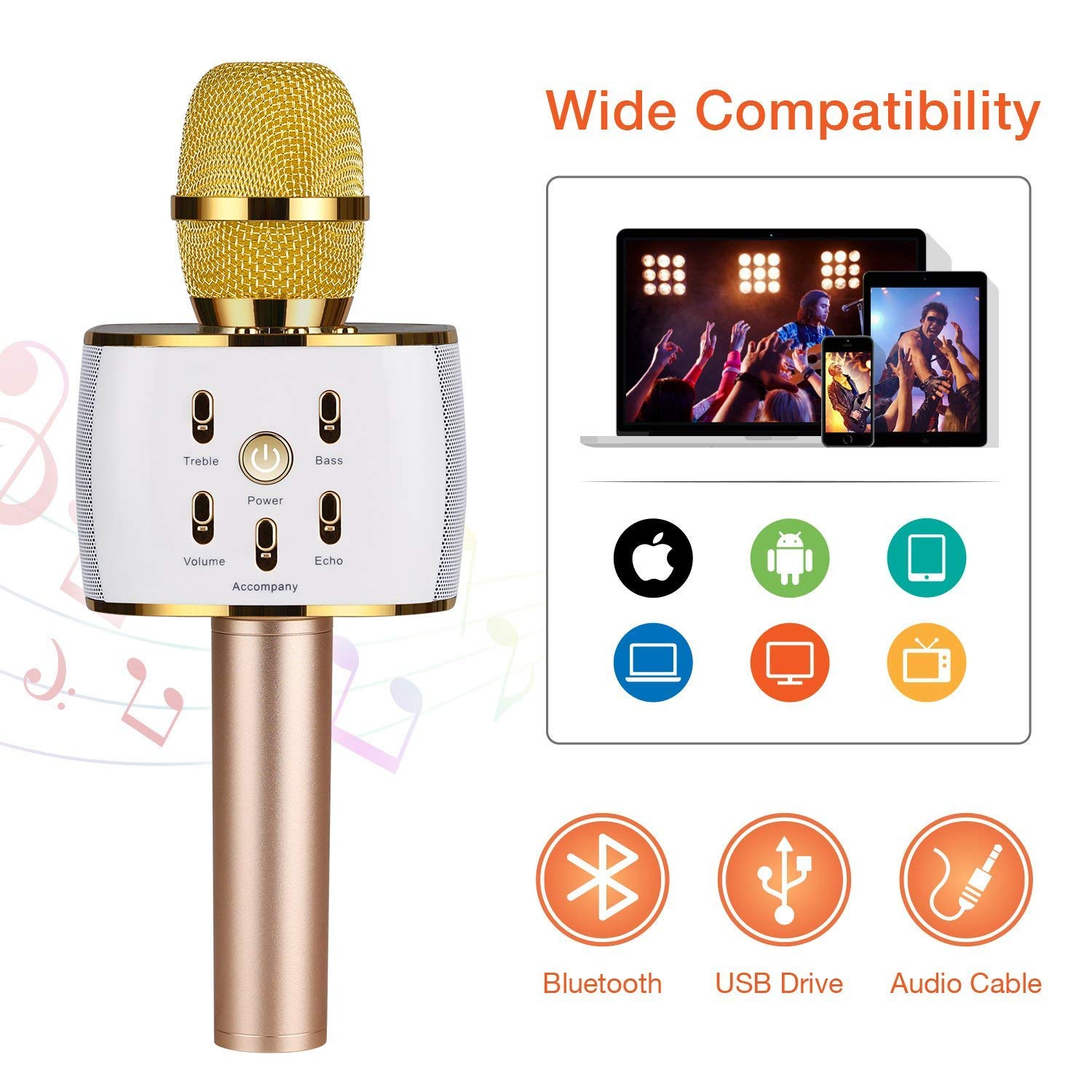 MuDella Wireless Karaoke Microphone with 2 Built-In Speakers & Pro Mixer – Portable, Bluetooth Karaoke Machine Mics Make the Ultimate Music Party Supplies – Sing Karaoke with Rechargeable Cordless Mic