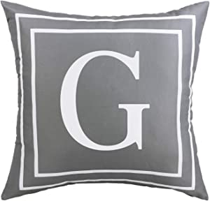 Fascidorm Gray Pillow Cover English Alphabet G Throw Pillow Case Modern Cushion Cover Square Pillowcase Decoration for Sofa Bed Chair Car 18 x 18 Inch