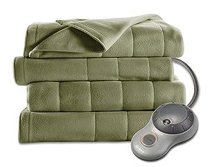 Sunbeam Heated Blanket | 10 Heat Settings, Quilted Fleece, Ivy, Queen