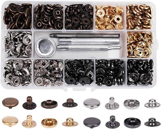 100 botones de metal con caja de almacenamiento, Craftsman168 botones vaqueros de repuesto de metal con oro, plata, bronce, negro 4 estilos: Amazon.es: Hogar