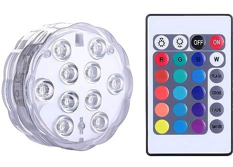Luz sumergible del LED con teledirigido, luz multicolora de Alilimall impermeable Iluminación de estanques y