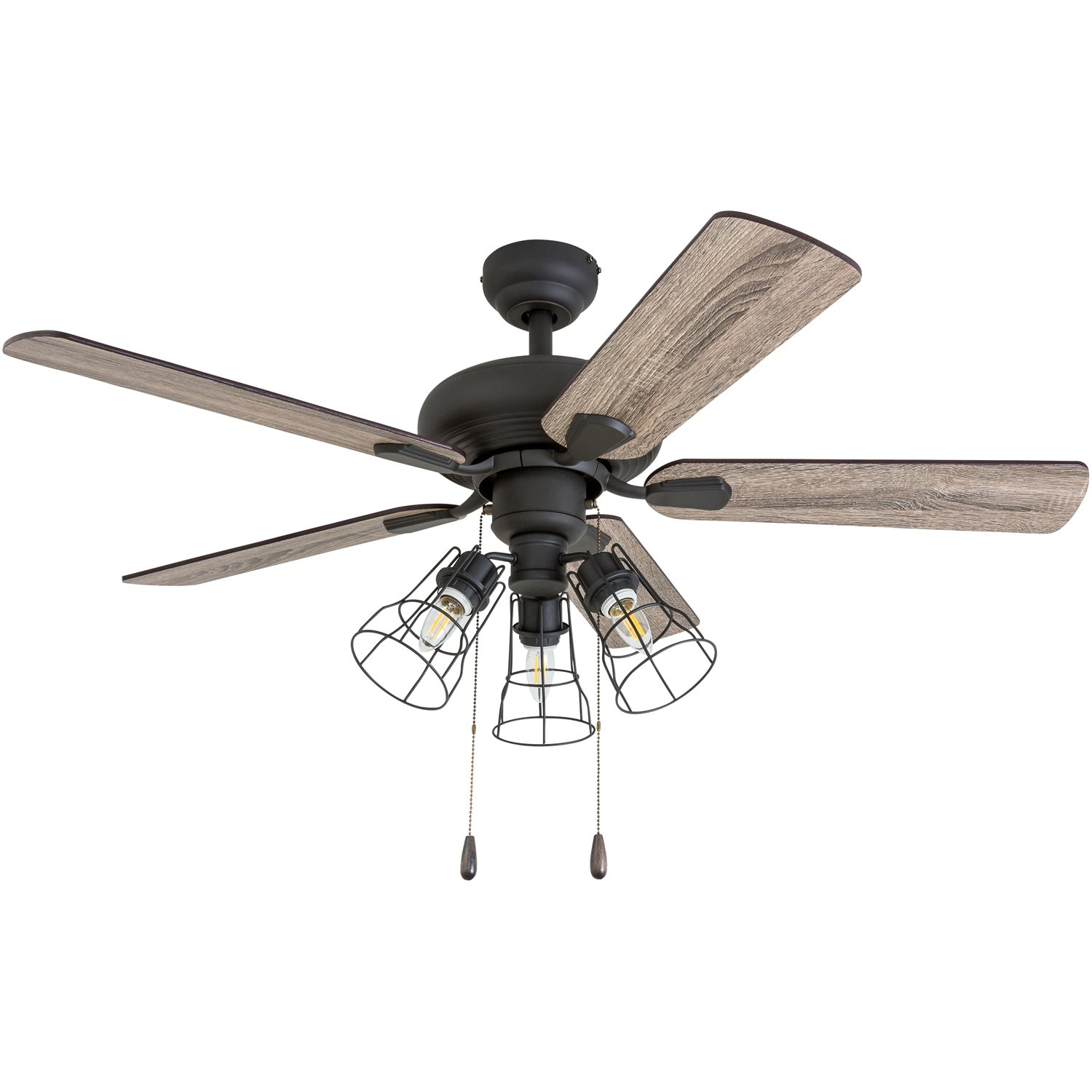 Prominence Home 50752-01 Madison County Industrial Ceiling Fan (3 Speed Remote), 42'', Barnwood/Tumbleweed, Aged Bronze