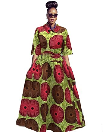3ed712d8bbb0b Amazon.com: Ivay Womens African Maxi Dresses Dashiki Print Skirt Fit and  Flare Dress 2 Piece with Pockets: Clothing