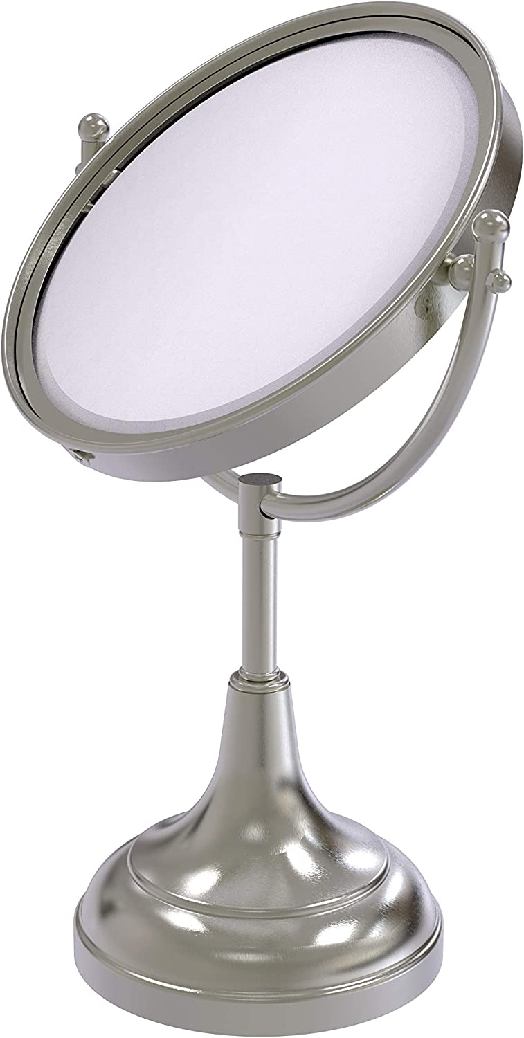 Satin Nickel Allied Brass DM-4//5X-SN 8-Inch Table Mirror with 3x Magnification 15-Inch