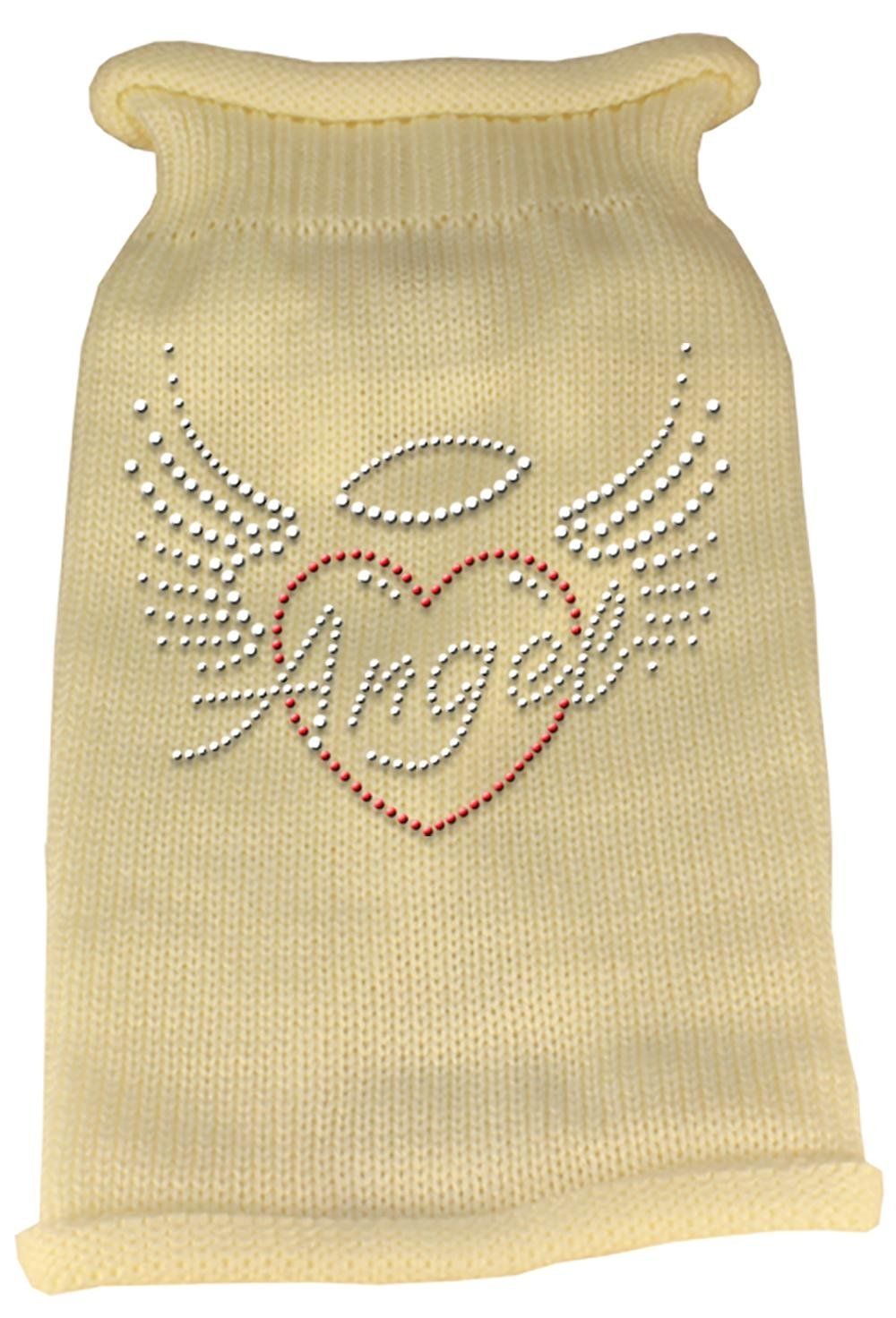 Cream Small Cream Small Mirage Pet Products Angel Heart Rhinestone Knit Pet Sweater, Small, Cream