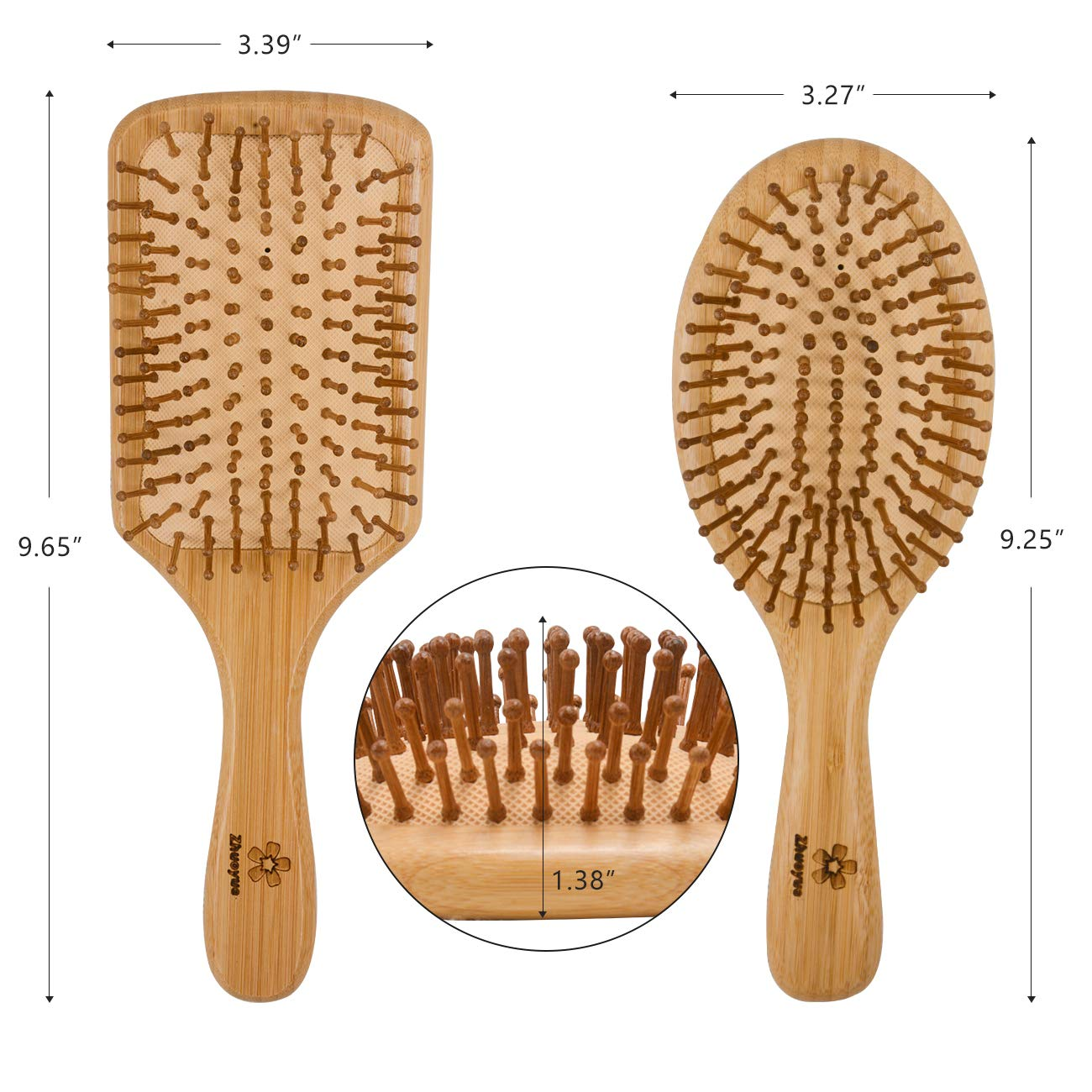 Zhuoyue Wooden Bamboo Hair Brush - Best wooden paddle brush