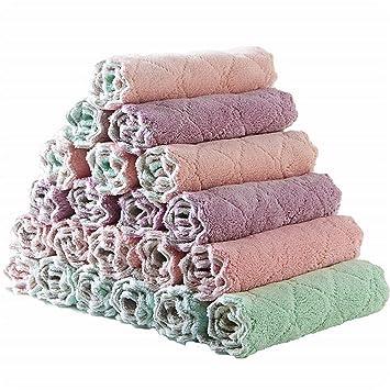 10Pack toallas cocina toallas plato toallas algodón-lavable en la máquina-extra suave set en rosa marrón Dobby tejido toallas de té toallas bar ...
