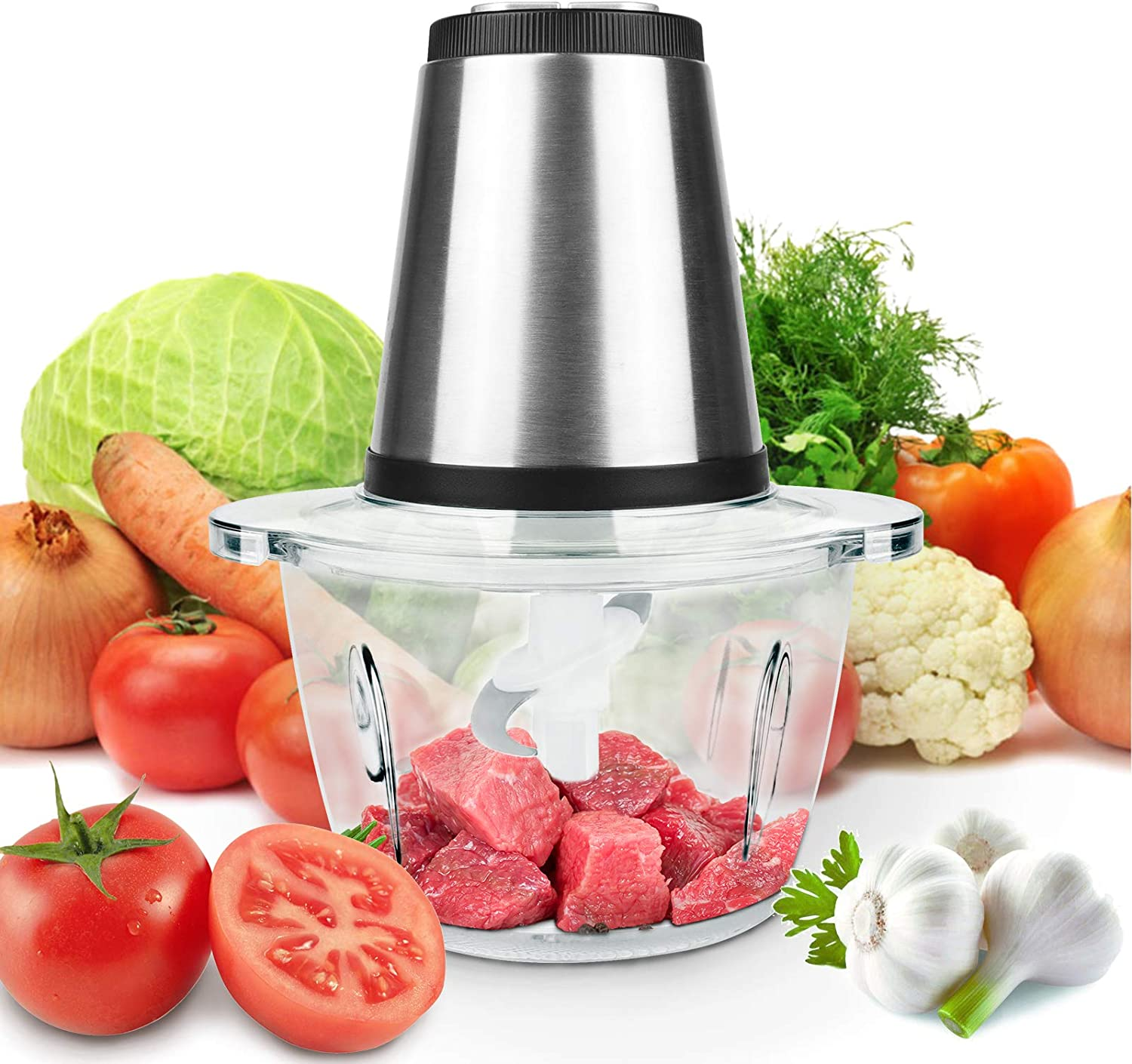 Electric Food Processor, 5-Cup 1.2L Meat Vegetable Fruit Chopper with 4 Detachable Stainless Steel Blades Fast & Slow 2 Speeds 230W
