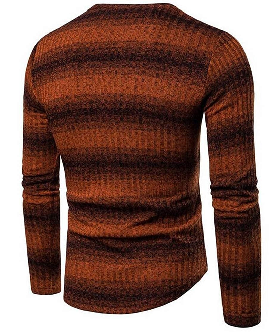 KLJR Men Slim Fit Thicken Striped Crewneck Cable-Knit Sweater Pullover